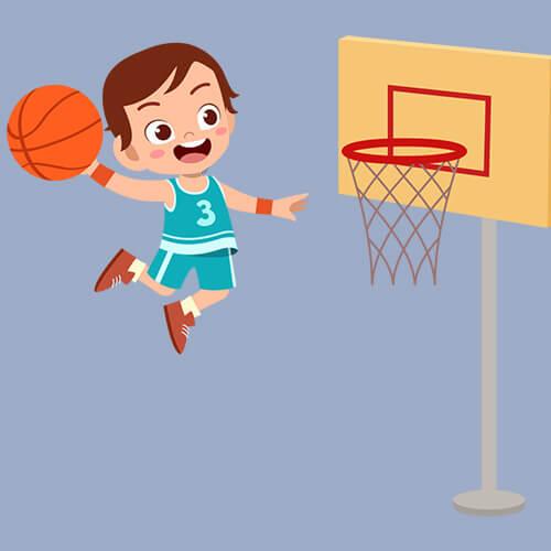 Παιδάκι αθλητής που παίζει μπάσκετ