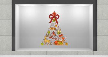 Αυτοκόλλητα καταστημάτων - Χριστουγεννιάτικο δέντρο απο χριστουγεννιάτικα αντικείμενα
