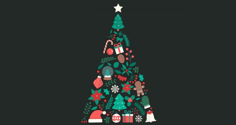 Αυτοκόλλητα καταστημάτων - Χριστουγεννιάτικο δέντρο απο διάφορα στολίδια