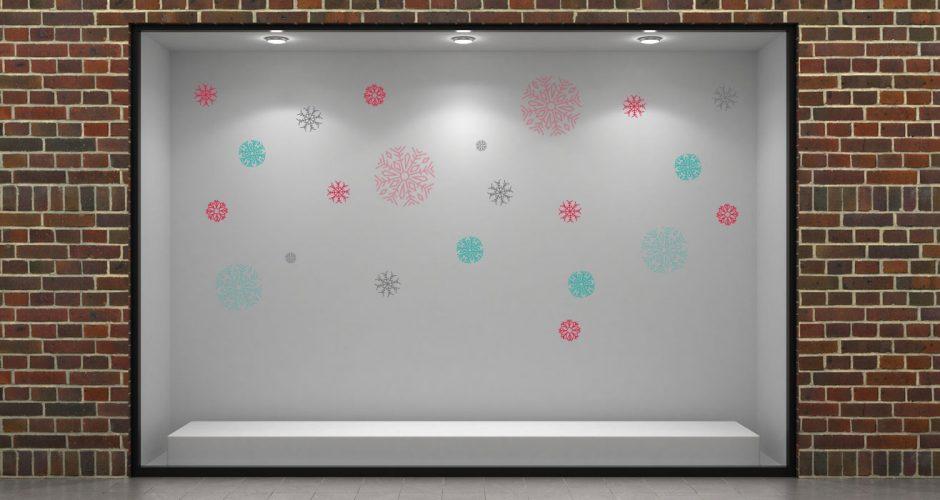 Αυτοκόλλητα καταστημάτων - Χρωματιστές χιονονιφάδες