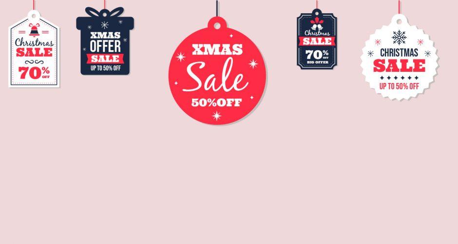 Αυτοκόλλητα καταστημάτων - Διάφορες καρτέλες χριστουγεννιάτικων εκπτώσεων