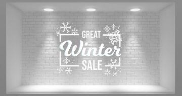 Αυτοκόλλητα καταστημάτων - Great winter sale με χιονονιφάδες