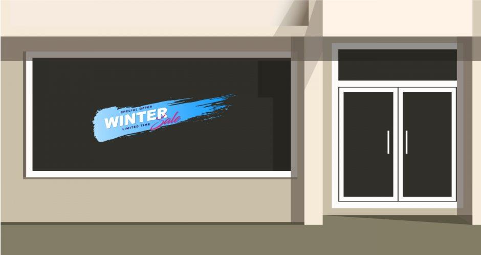 Αυτοκόλλητα καταστημάτων - Χειμερινές εκπτώσεις σε μπλε χρώμα βούρτσας