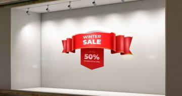 Αυτοκόλλητα καταστημάτων - Κόκκινη κορδέλα με winter sales και ποσοστό