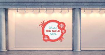 Αυτοκόλλητα καταστημάτων - Κόκκινο κυκλικό πλαίσιο για χειμερινές εκπτώσεις με νιφάδες