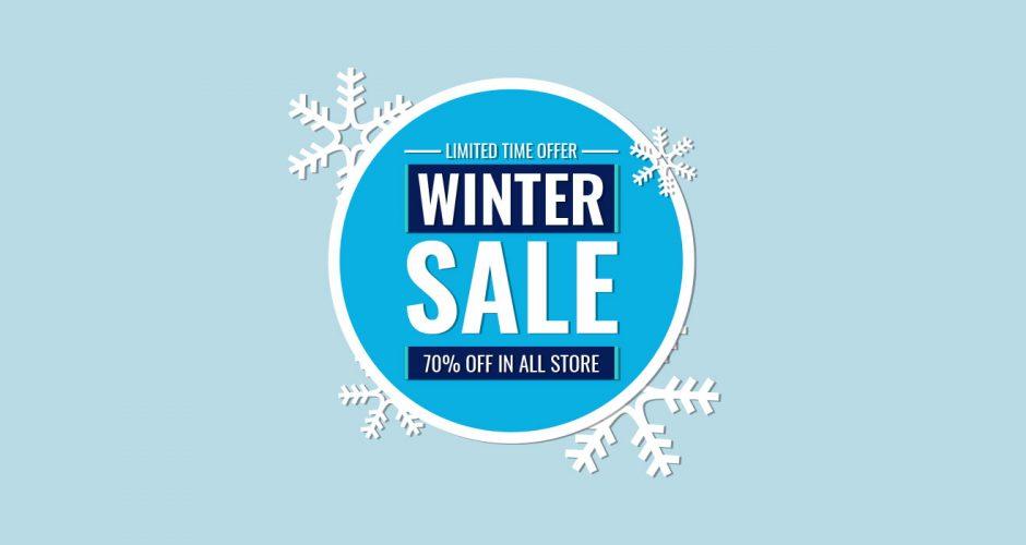 Αυτοκόλλητα καταστημάτων - Κυκλικό πλαίσιο για winter sales for limited time