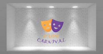 """Αποκριάτικα (Halloween) - Μάσκες ( Χαρούμενη και λυπημένη ) με την έκφραση """"Happy Carnival"""""""