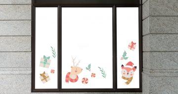 Αυτοκόλλητα καταστημάτων - Πολύχρωμα Χριστουγεννιάτικα στολίδια και ζωάκια