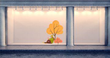 Αυτοκόλλητα καταστημάτων - Γυναίκα που διαβάζει βιβλίο κάτω από δέντρο