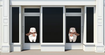 Αυτοκόλλητα καταστημάτων - Φθινοπωρινές αρκούδες