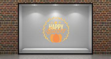 """Αυτοκόλλητα καταστημάτων - """"Happy Easter"""" σε κύκλο με αυγά"""