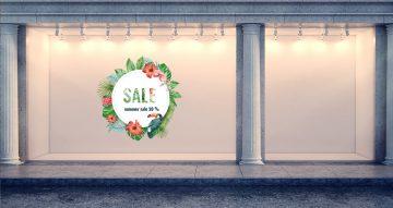 Αυτοκόλλητα καταστημάτων - Καλοκαιρινές προσφορές - Λουλούδια και παπαγάλος σε κύκλο με δικό σας ποσοστό