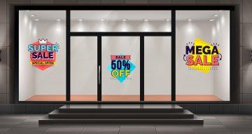 Αυτοκόλλητα καταστημάτων - Καλοκαιρινές προσφορές σε διάφορα σχήματα και χρώματα με δικό σας ποσοστό