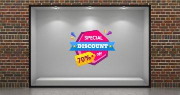 Αυτοκόλλητα καταστημάτων - Καλοκαιρινές προσφορές - Special Discount με δικό σας ποσοστό