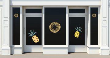Αυτοκόλλητα καταστημάτων - Καλοκαιρινή σύνθεση από ανανά