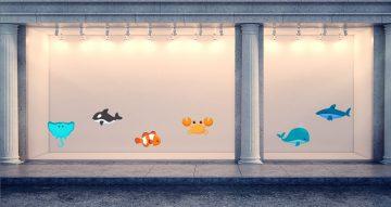 Αυτοκόλλητα καταστημάτων - Καλοκαιρινή σύνθεση με θαλάσσια ζωή