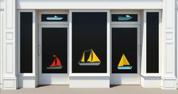 Αυτοκόλλητα καταστημάτων - Καλοκαιρινή σύνθεση με διάφορα πλοία
