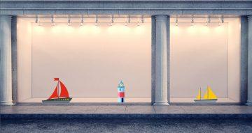 Αυτοκόλλητα καταστημάτων - Καλοκαιρινή σύνθεση με φάρους και πλοία