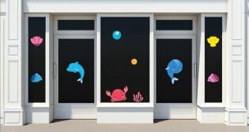 Αυτοκόλλητα καταστημάτων - Καλοκαιρινή σύνθεση με θαλάσσια ζώα, φυτά και κοχύλια