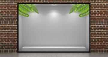 Αυτοκόλλητα καταστημάτων - Καλοκαιρινή σύνθεση με διάφορα φύλλα
