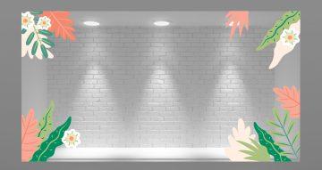 Ανοιξιάτικη βιτρίνα - Γωνιακή σύνθεση με τροπικά φύλλα