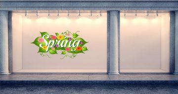 """Ανοιξιάτικη βιτρίνα - Λογότυπο """"Spring"""" με διακόσμηση"""