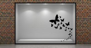 Ανοιξιάτικη βιτρίνα - Ανοιξιάτικη/Καλοκαιρινή βιτρίνα με μονόχρωμες πεταλούδες