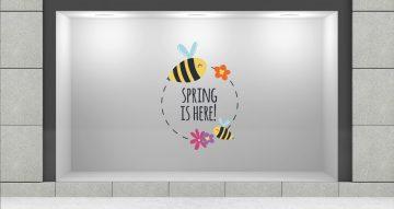"""Ανοιξιάτικη βιτρίνα - """"Spring is here"""" σε κύκλο με μέλισσες και λουλούδια"""