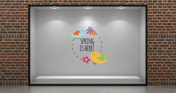 """Ανοιξιάτικη βιτρίνα - """"Spring is here"""" σε κύκλο με λουλούδια και πουλάκια"""