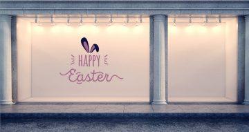 """Αυτοκόλλητα καταστημάτων - """"Happy Easter"""" με αυτιά"""