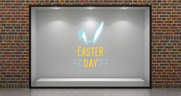 """Αυτοκόλλητα καταστημάτων - """"Easter Day"""" με αυτιά λαγού"""