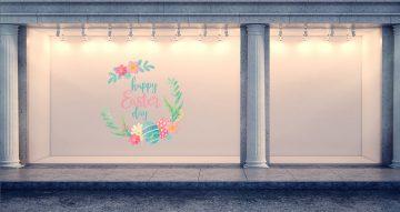 """Αυτοκόλλητα καταστημάτων - """"Happy Easter Day"""" με πασχαλινά αυγά και λουλούδια"""