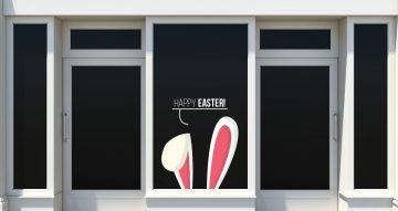 """Αυτοκόλλητα καταστημάτων - Κείμενο """"Happy Easter"""" και αυτιά λαγού"""