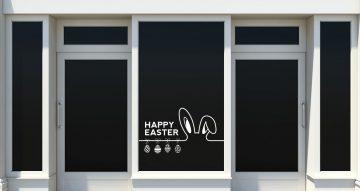 """Αυτοκόλλητα καταστημάτων - """"Happy Easter"""" με αυτιά λαγού και κρεμαστά πασχαλινά αυγά"""