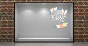 """Αυτοκόλλητα καταστημάτων - """"Happy Easter Day"""" με αυτιά λαγού, λουλούδια και αυγά"""