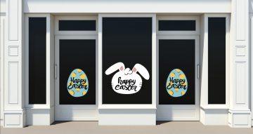 """Αυτοκόλλητα καταστημάτων - Λαγός και πασχαλινό αυγό με """"Happy Easter"""""""