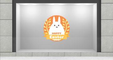 """Αυτοκόλλητα καταστημάτων - """"Happy Easter"""" σε κύκλο με κορδέλα και λαγό"""