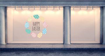 """Αυτοκόλλητα καταστημάτων - """"Happy Easter"""" με πασχαλινά αυγά σε σχήμα κύκλο"""