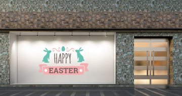 """Αυτοκόλλητα καταστημάτων - """"Happy Easter"""" με λαγούς και κορδέλα"""