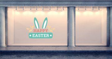 """Αυτοκόλλητα καταστημάτων - """"Happy Easter"""" με αυτιά λαγού και κορδέλα"""