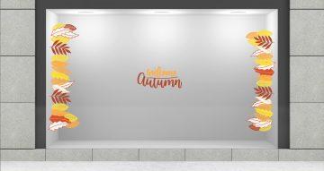"""Αυτοκόλλητα καταστημάτων - Φθινοπωρινά φύλλα με κείμενο """"welcome autumn"""""""