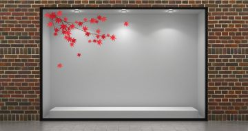 Αυτοκόλλητα καταστημάτων - Φθινοπωρινά κόκκινα φύλλα με κλαδιά