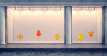 Αυτοκόλλητα καταστημάτων - Σύνθεση από φθινοπωρινά φύλλα