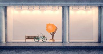 Αυτοκόλλητα καταστημάτων - Φθινοπωρινή σύνθεση με δέντρο, ποδήλατο και παγκάκι