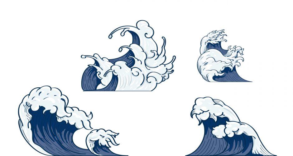 Αυτοκόλλητα καταστημάτων - Καλοκαιρινή σύνθεση με ρεαλιστικά κύματα