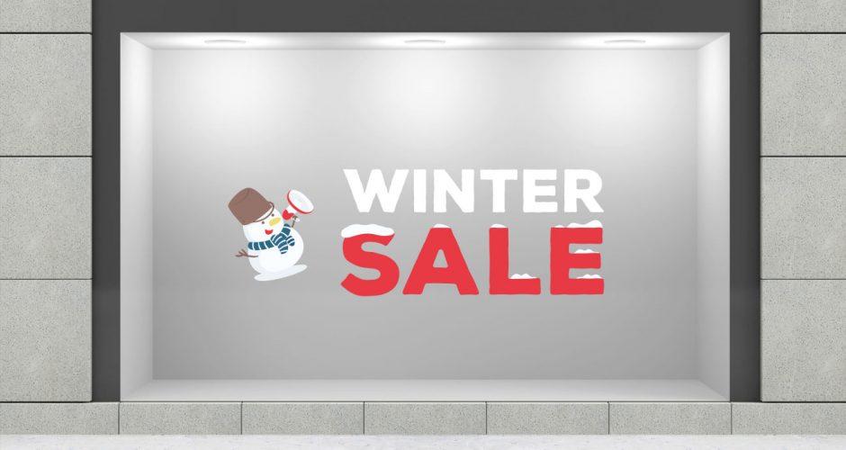 Αυτοκόλλητα καταστημάτων - Winter sale με χιονισμένα γράμματα και χιονάνθρωπο
