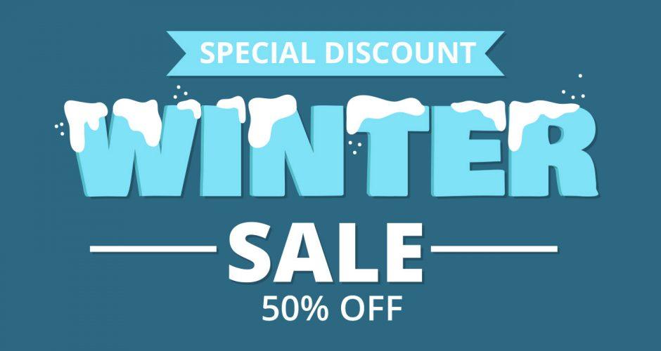 Αυτοκόλλητα καταστημάτων - Winter sale με χιονισμένα γράμματα και ποσοστό έκπτωσης