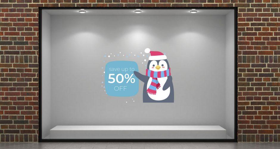 Αυτοκόλλητα καταστημάτων - Winter sales με πιγκουίνο