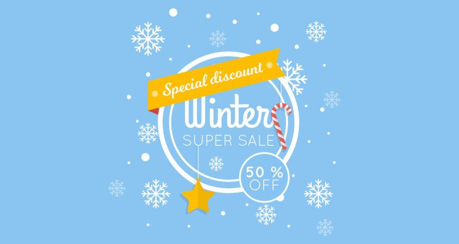Αυτοκόλλητα καταστημάτων - Winter super sale με αστεράκι και ποσοστό έκπτωσης