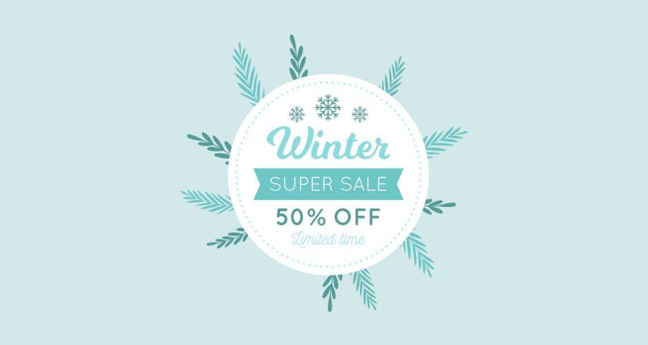 Αυτοκόλλητα καταστημάτων - Winter super sales for limited time